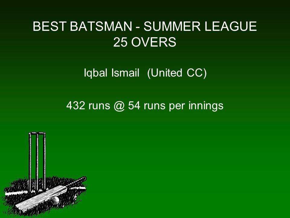 BEST BATSMAN - SUMMER LEAGUE 25 OVERS Iqbal Ismail (United CC) 432 runs @ 54 runs per innings