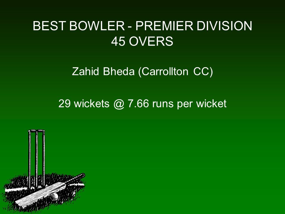 BEST BOWLER - PREMIER DIVISION 45 OVERS Zahid Bheda (Carrollton CC) 29 wickets @ 7.66 runs per wicket