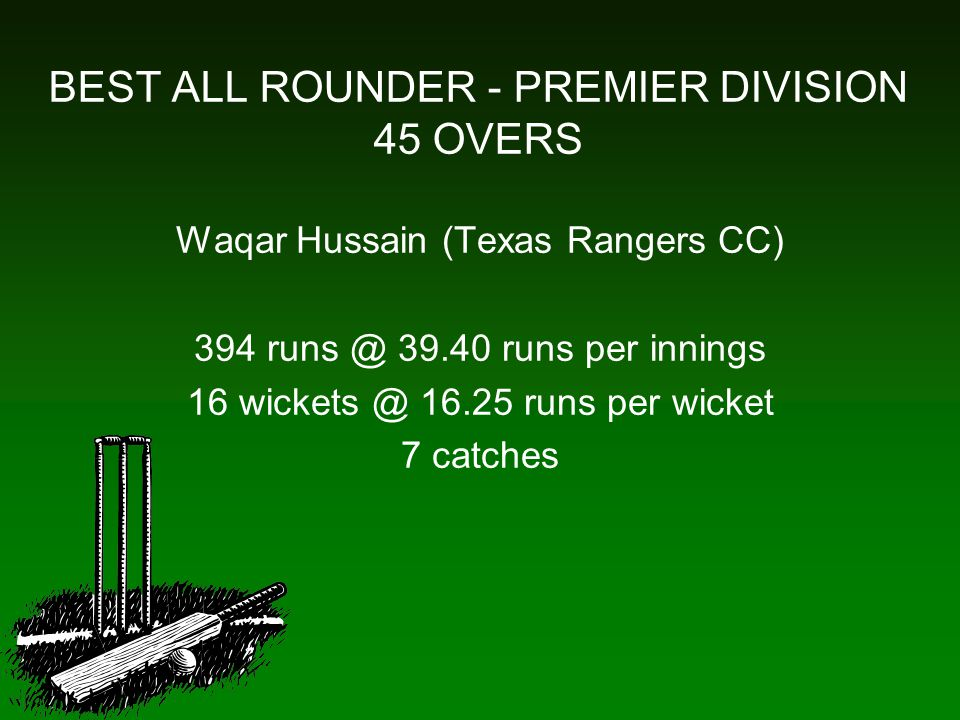 BEST ALL ROUNDER - PREMIER DIVISION 45 OVERS Waqar Hussain (Texas Rangers CC) 394 runs @ 39.40 runs per innings 16 wickets @ 16.25 runs per wicket 7 catches