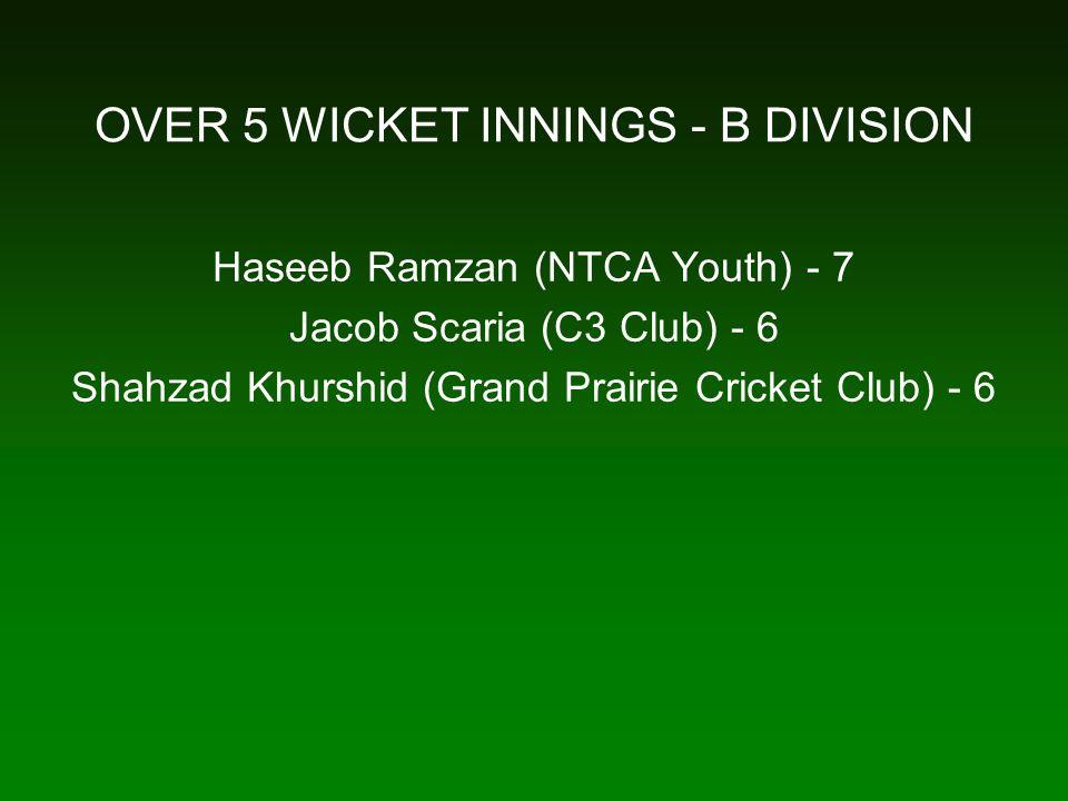 OVER 5 WICKET INNINGS - B DIVISION Haseeb Ramzan (NTCA Youth) - 7 Jacob Scaria (C3 Club) - 6 Shahzad Khurshid (Grand Prairie Cricket Club) - 6