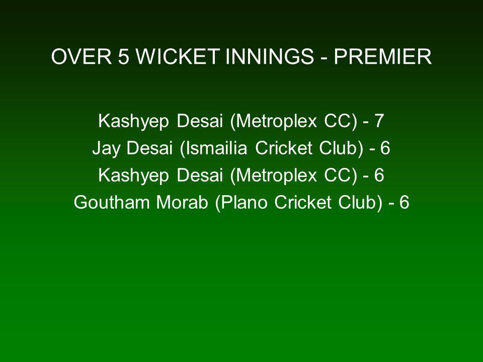 OVER 5 WICKET INNINGS - PREMIER Kashyep Desai (Metroplex CC) - 7 Jay Desai (Ismailia Cricket Club) - 6 Kashyep Desai (Metroplex CC) - 6 Goutham Morab (Plano Cricket Club) - 6