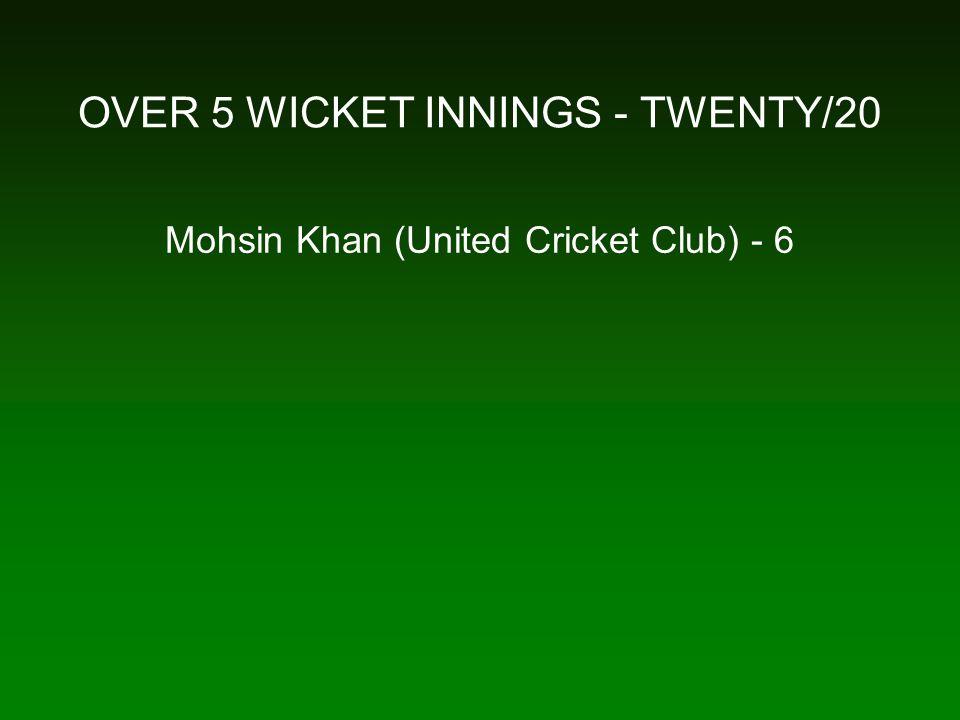 OVER 5 WICKET INNINGS - TWENTY/20 Mohsin Khan (United Cricket Club) - 6