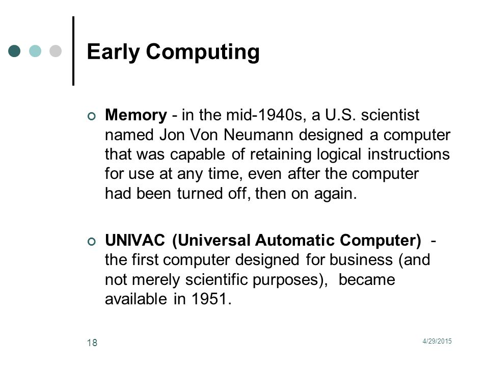 Early Computing Memory - in the mid-1940s, a U.S.