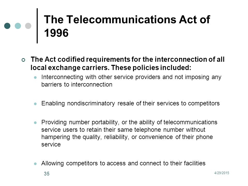 The Telecommunications Act of 1996 The Act codified requirements for the interconnection of all local exchange carriers.