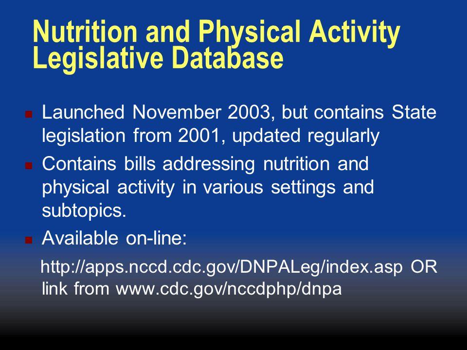 Tina Lankford Email: tlankford@cdc.gov DNPA's State Legislative Database Tamara S.