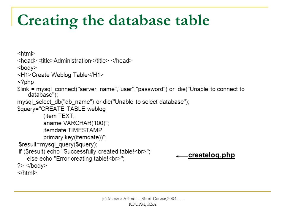 (c) Manzur Ashraf----Short Course,2004 ---- KFUPM, KSA Creating the database table Administration Create Weblog Table <?php $link = mysql_connect( server_name , user , password ) or die( Unable to connect to database ); mysql_select_db( db_name ) or die( Unable to select database ); $query= CREATE TABLE weblog (item TEXT, aname VARCHAR(100) ; itemdate TIMESTAMP, primary key(itemdate)) ; $result=mysql_query($query); if ($result) echo Successfully created table.