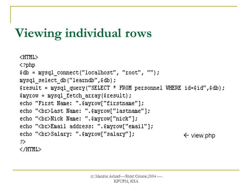(c) Manzur Ashraf----Short Course,2004 ---- KFUPM, KSA Viewing individual rows  view.php