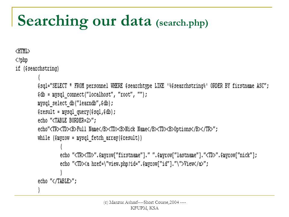 (c) Manzur Ashraf----Short Course,2004 ---- KFUPM, KSA Searching our data (search.php)