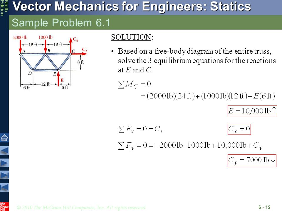 © 2010 The McGraw-Hill Companies, Inc. All rights reserved. Vector Mechanics for Engineers: Statics NinthEdition Sample Problem 6.1 6 - 12 SOLUTION: B