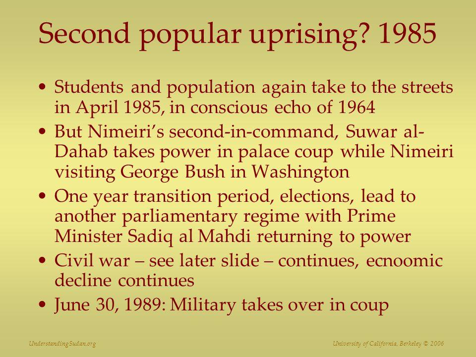 UnderstandingSudan.org University of California, Berkeley © 2006 Second popular uprising.