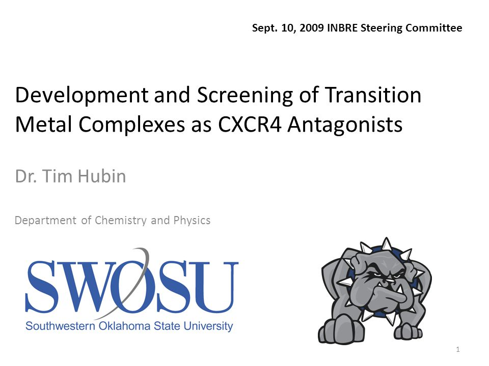 1 Development and Screening of Transition Metal Complexes as CXCR4 Antagonists Dr.