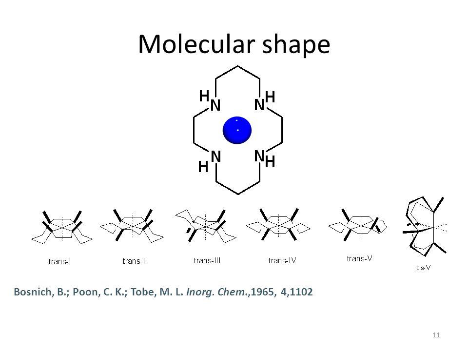 11 Molecular shape Bosnich, B.; Poon, C. K.; Tobe, M. L. Inorg. Chem.,1965, 4,1102