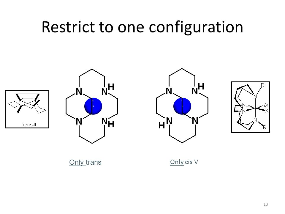 13 Restrict to one configuration Only trans Only cis V