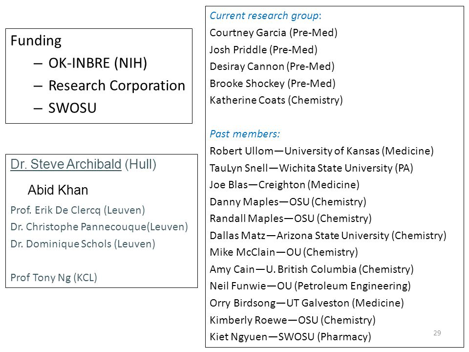29 Acknowledgements Funding – OK-INBRE (NIH) – Research Corporation – SWOSU Dr.