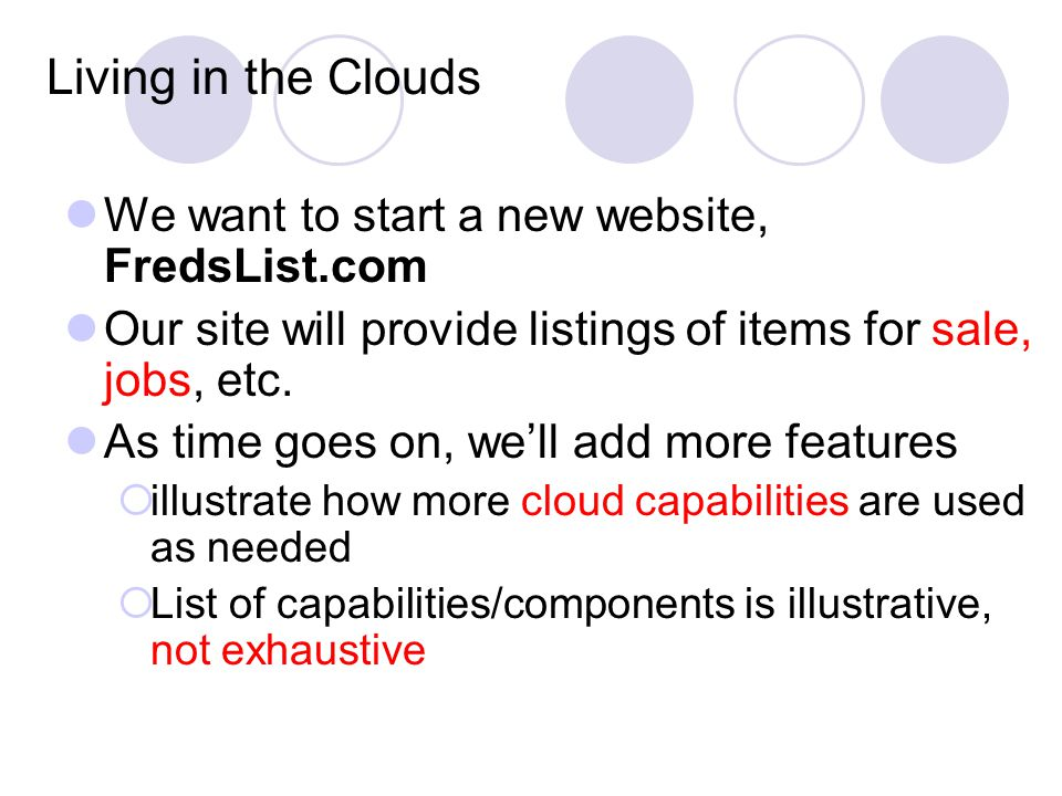 Living in the Clouds We want to start a new website, FredsList.com Our site will provide listings of items for sale, jobs, etc.