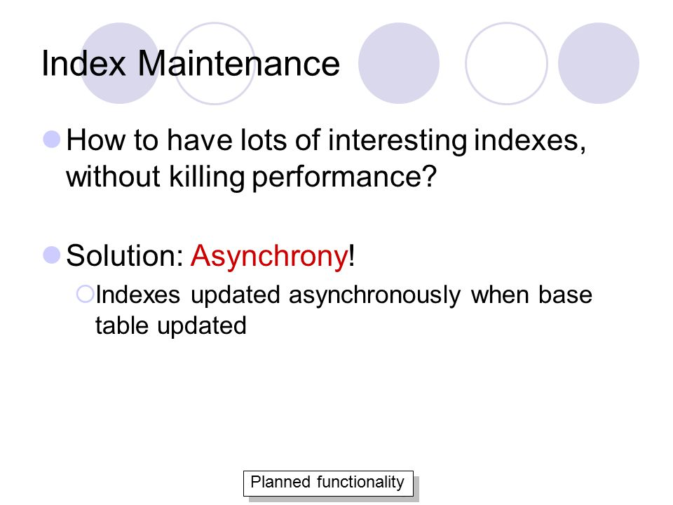 Index Maintenance How to have lots of interesting indexes, without killing performance.