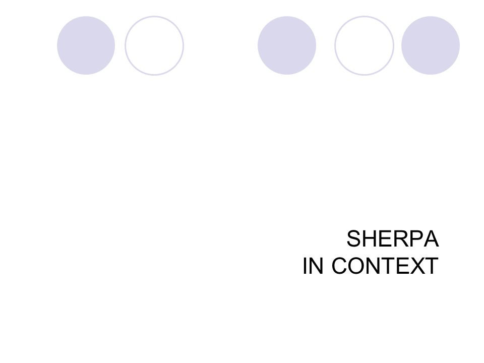 SHERPA IN CONTEXT 42