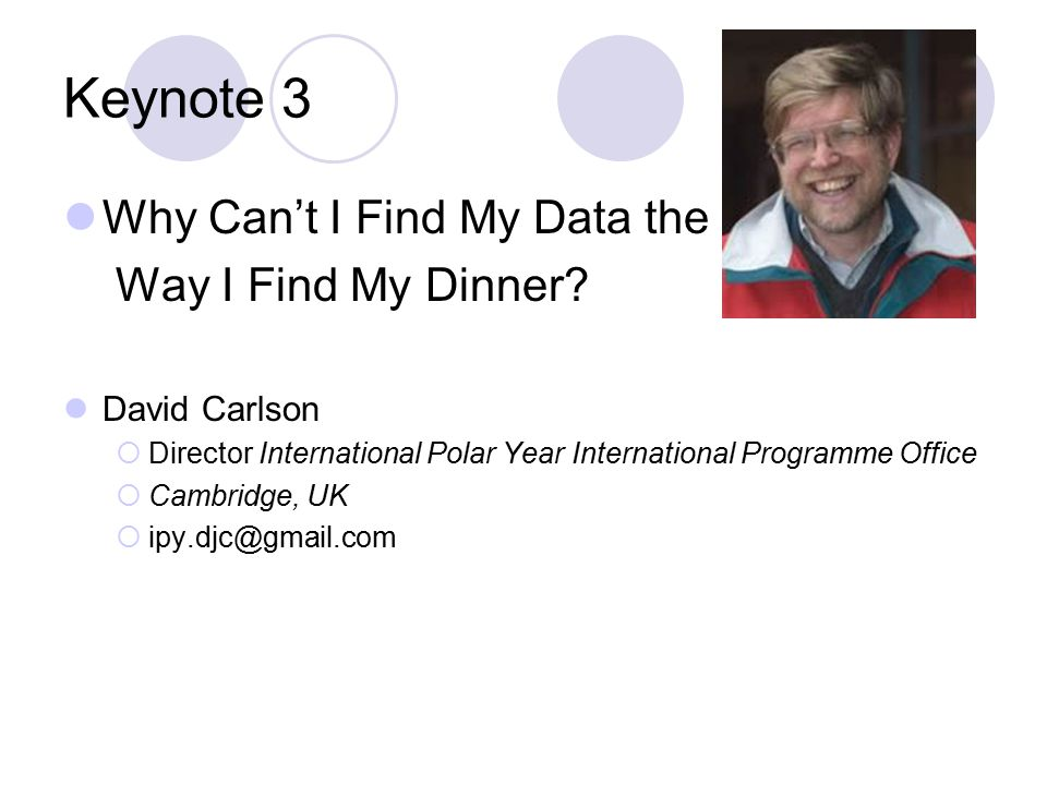 Keynote 3 Why Can't I Find My Data the Way I Find My Dinner.