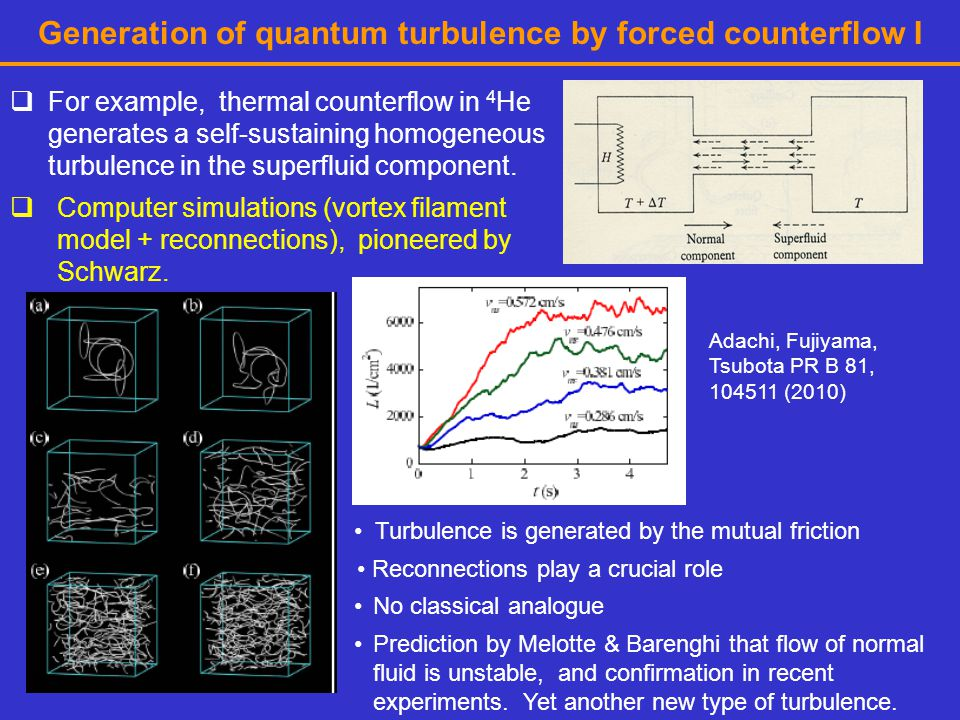 Generation of quantum turbulence by forced counterflow I  For example, thermal counterflow in 4 He generates a self-sustaining homogeneous turbulence in the superfluid component.