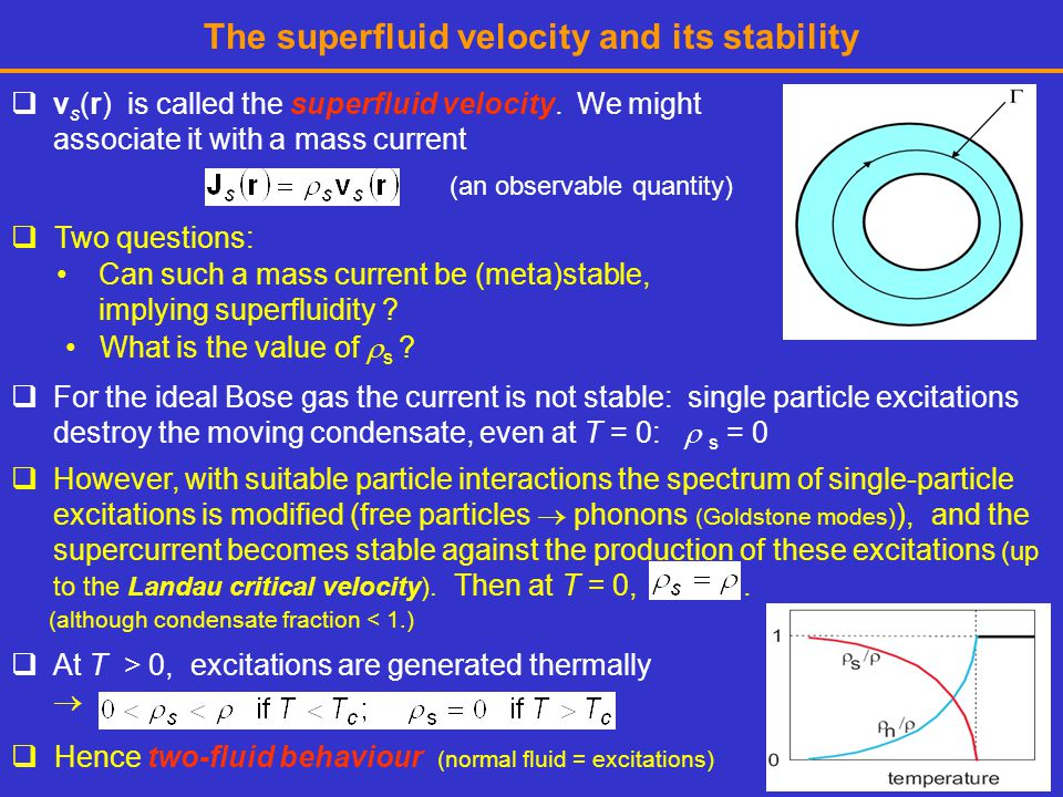 The superfluid velocity and its stability  v s (r) is called the superfluid velocity.