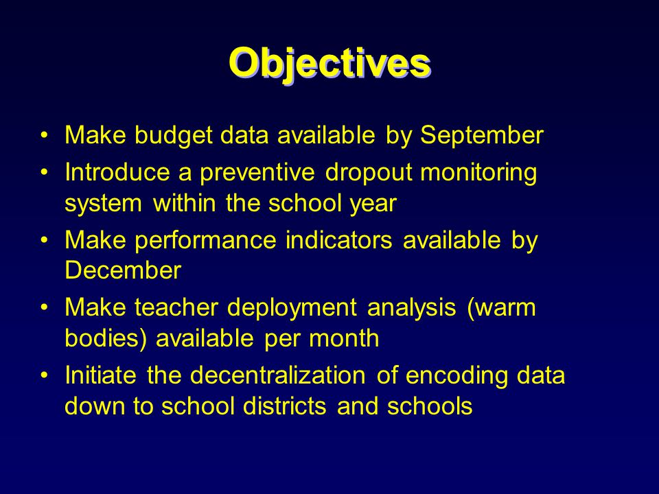 Types of Reports Pupil Data –Number of Promotees –Number of Repeaters –Number of Dropouts –Number of Balik Aral