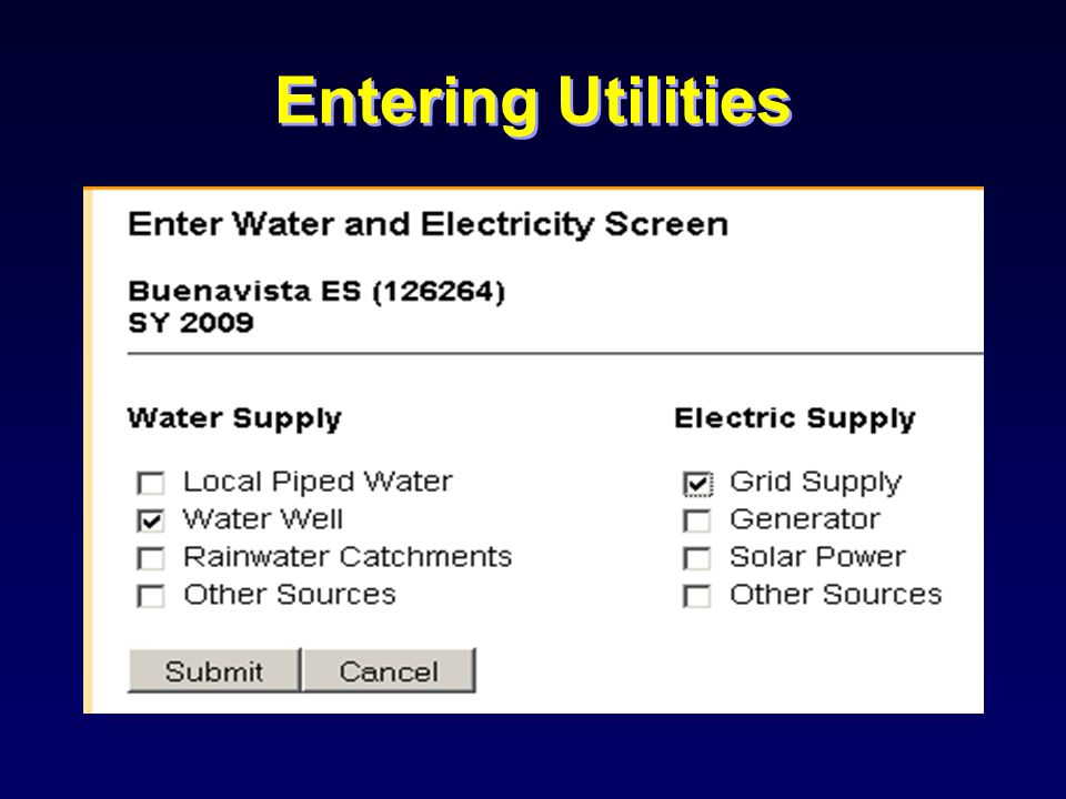 Entering Utilities