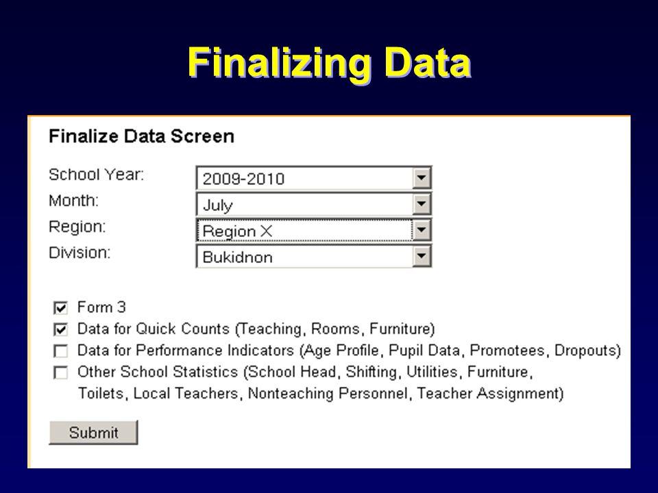 Finalizing Data
