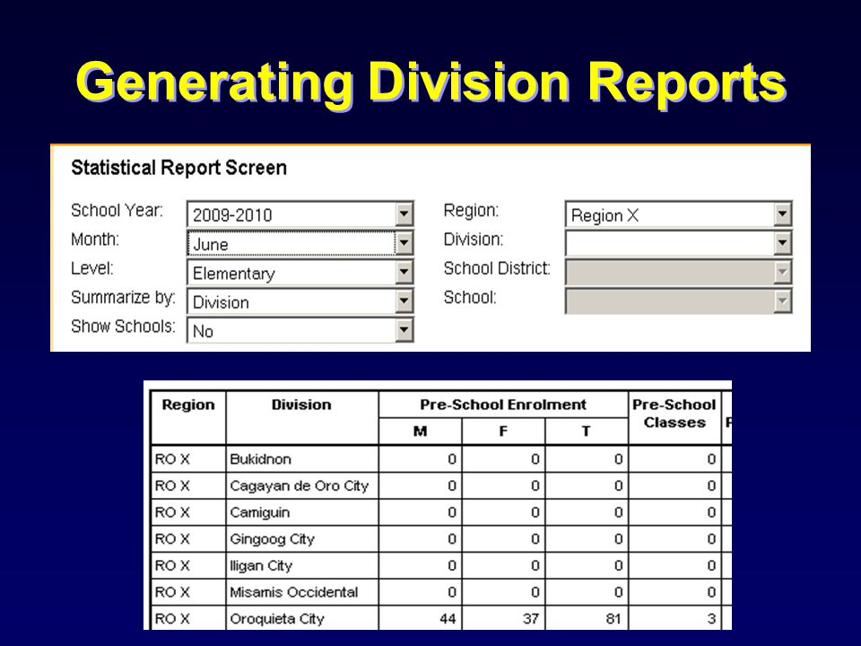 Generating Division Reports