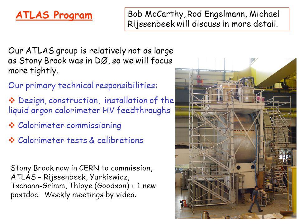 ATLAS Program Bob McCarthy, Rod Engelmann, Michael Rijssenbeek will discuss in more detail. Our ATLAS group is relatively not as large as Stony Brook
