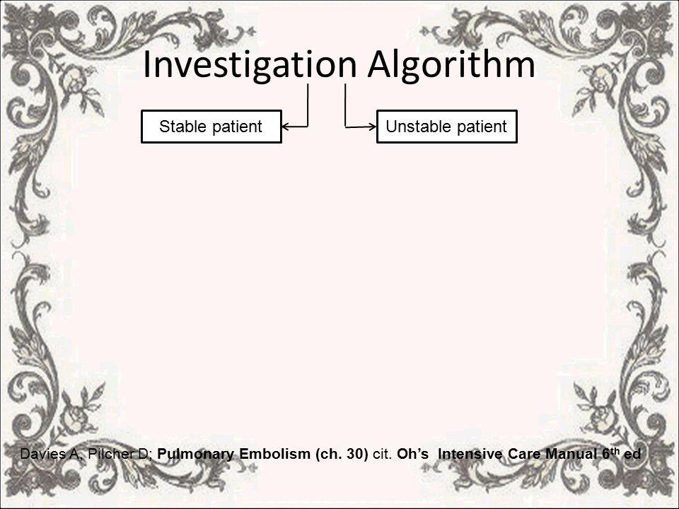Investigation Algorithm Davies A, Pilcher D; Pulmonary Embolism (ch.