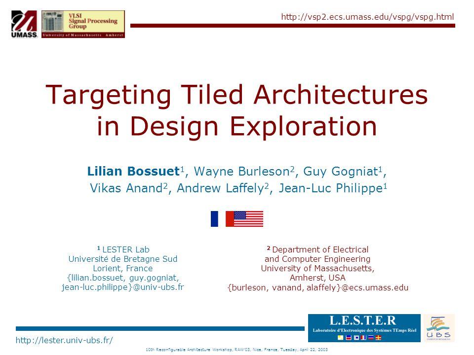 http://lester.univ-ubs.fr/ http://vsp2.ecs.umass.edu/vspg/vspg.html 10th Reconfigurable Architecture Workshop, RAW'03, Nice, France, Tuesday, April 22, 2003 aSoC Exploration...