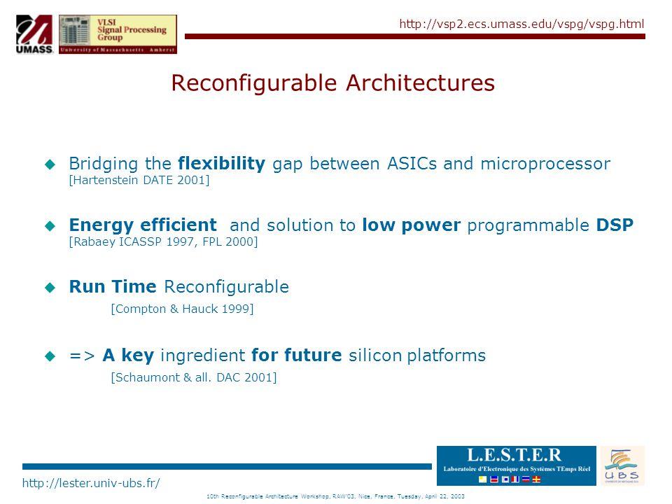 http://lester.univ-ubs.fr/ http://vsp2.ecs.umass.edu/vspg/vspg.html 10th Reconfigurable Architecture Workshop, RAW'03, Nice, France, Tuesday, April 22, 2003 Design Space of Reconfigurable Architecture RECONFIGURABLE ARCHITECTURES (R-SOC) FINE GRAIN (FPGA) MULTI GRANULARITY (Heterogeneous) COARSE GRAIN (Systolic) Processor + Coprocessor Tile-Based Architecture Coarse Grain Coprocessor Fine Grain Coprocessor Island Topology Hierarchical Topology Linear Topology Hierarchical Topology Mesh Topology Chameleon REMARC Morphosys Pleiades Garp FIPSOC Triscend E5 Triscend A7 Xilinx Virtex-II Pro Altera Excalibur Atmel FPSIC Xilinx Virtex Xilinx Spartran Atmel AT40K Lattice ispXPGA Altera Stratix Altera Apex Altera Cyclone Systolic Ring RaPiD PipeRench DART FPFA RAW CHESS MATRIX KressArray Systolix Pulsedsp aSoC E-FPFA