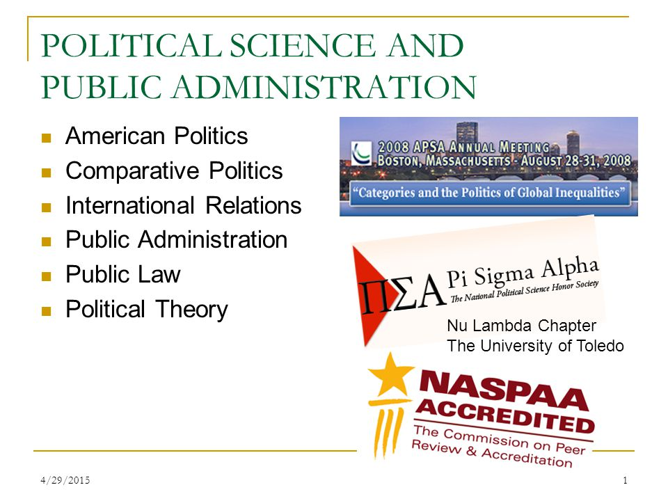 4/29/20151 POLITICAL SCIENCE AND PUBLIC ADMINISTRATION American Politics Comparative Politics International Relations Public Administration Public Law Political Theory Nu Lambda Chapter The University of Toledo