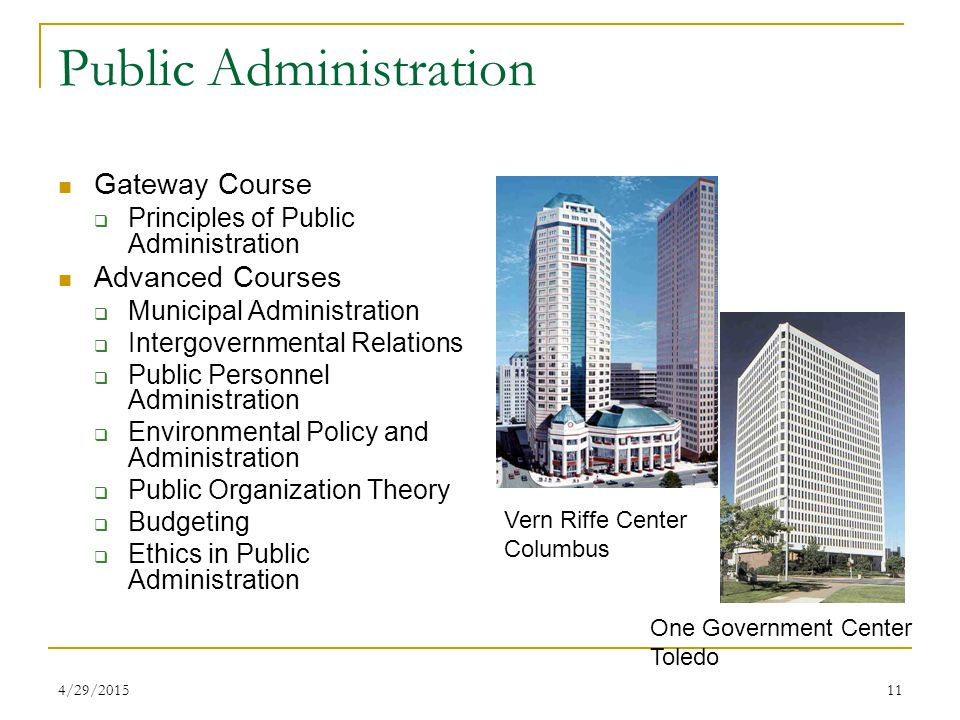 4/29/201511 Public Administration Gateway Course  Principles of Public Administration Advanced Courses  Municipal Administration  Intergovernmental Relations  Public Personnel Administration  Environmental Policy and Administration  Public Organization Theory  Budgeting  Ethics in Public Administration Vern Riffe Center Columbus One Government Center Toledo