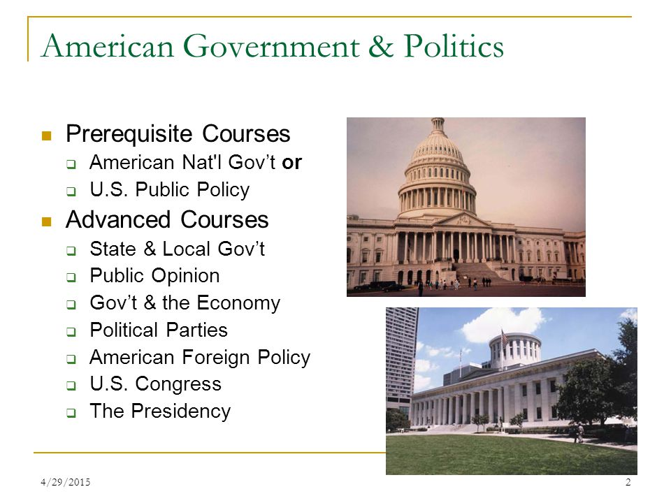 4/29/20152 American Government & Politics Prerequisite Courses  American Nat l Gov't or  U.S.