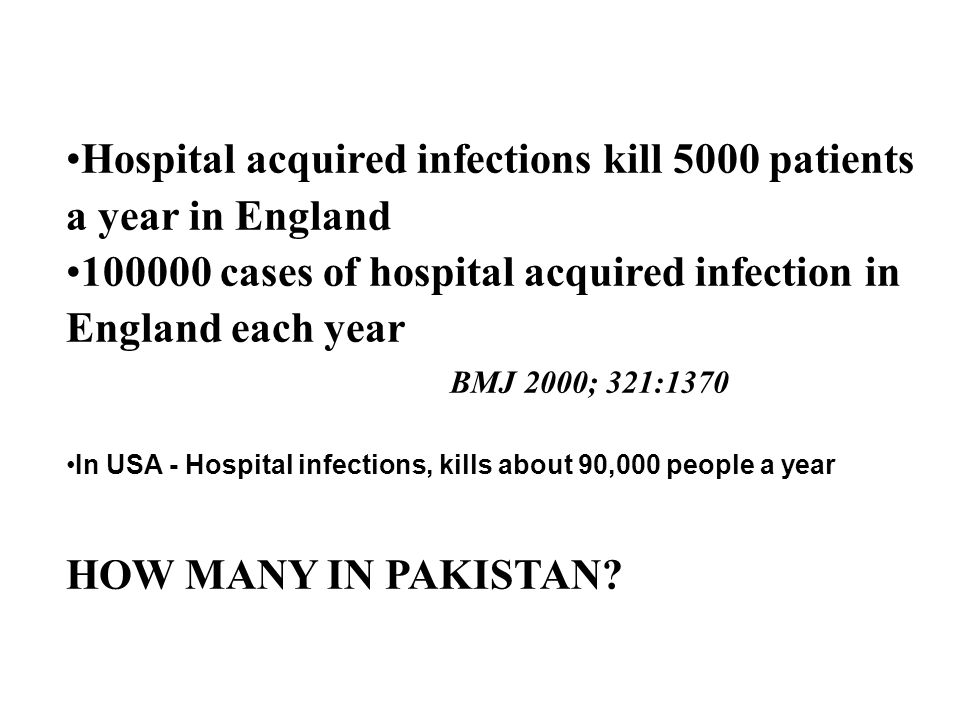 Hospital acquired infections kill 5000 patients a year in England 100000 cases of hospital acquired infection in England each year BMJ 2000; 321:1370