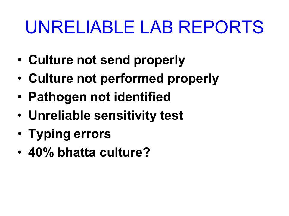 UNRELIABLE LAB REPORTS Culture not send properly Culture not performed properly Pathogen not identified Unreliable sensitivity test Typing errors 40%