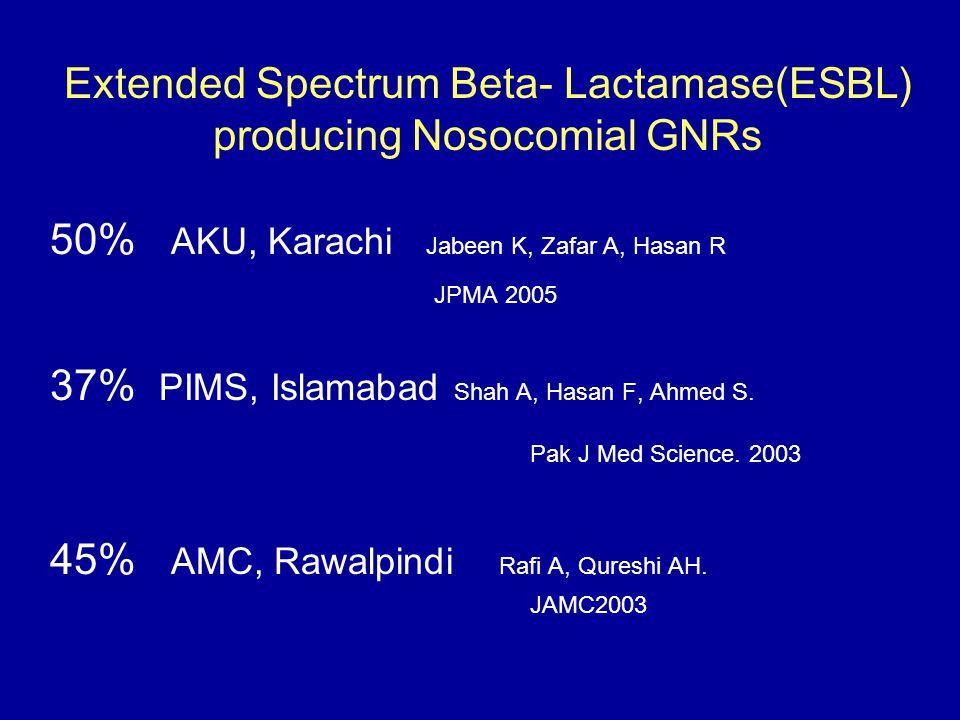 Extended Spectrum Beta- Lactamase(ESBL) producing Nosocomial GNRs 50% AKU, Karachi Jabeen K, Zafar A, Hasan R JPMA 2005 37% PIMS, Islamabad Shah A, Ha