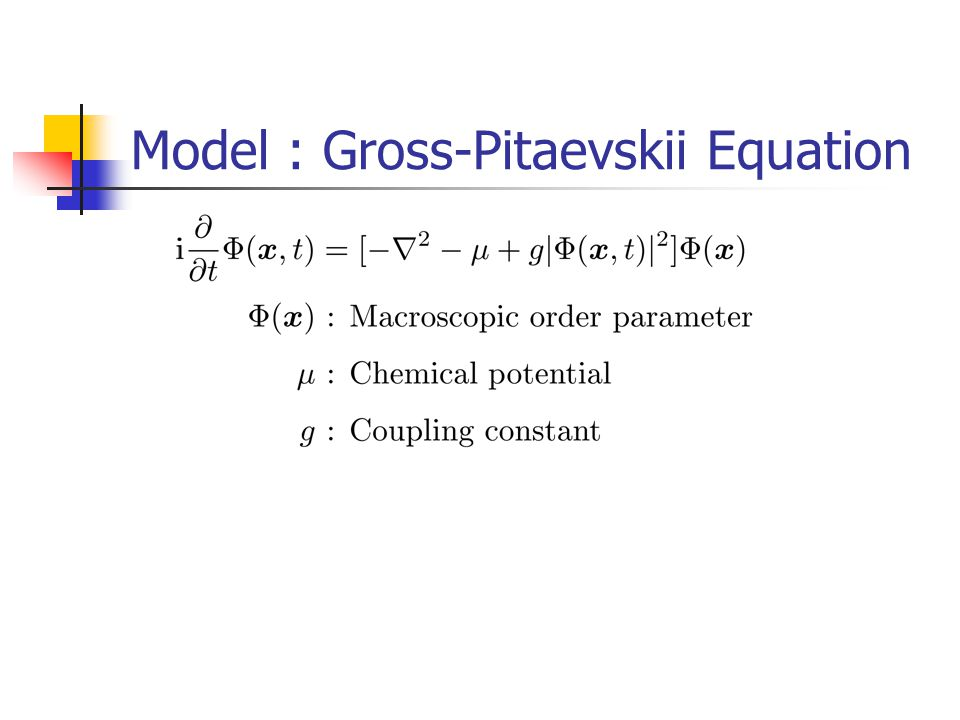 Model : Gross-Pitaevskii Equation