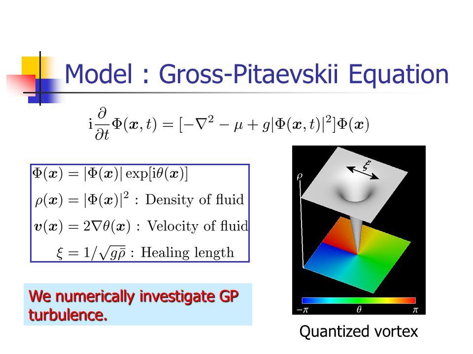 Quantized vortex We numerically investigate GP turbulence.