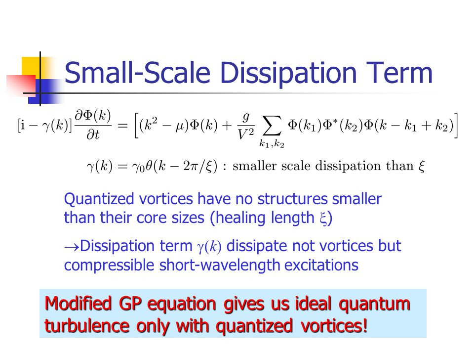 Small-Scale Dissipation Term Quantized vortices have no structures smaller than their core sizes (healing length  )  Dissipation term  (k) dissipate not vortices but compressible short-wavelength excitations Modified GP equation gives us ideal quantum turbulence only with quantized vortices!