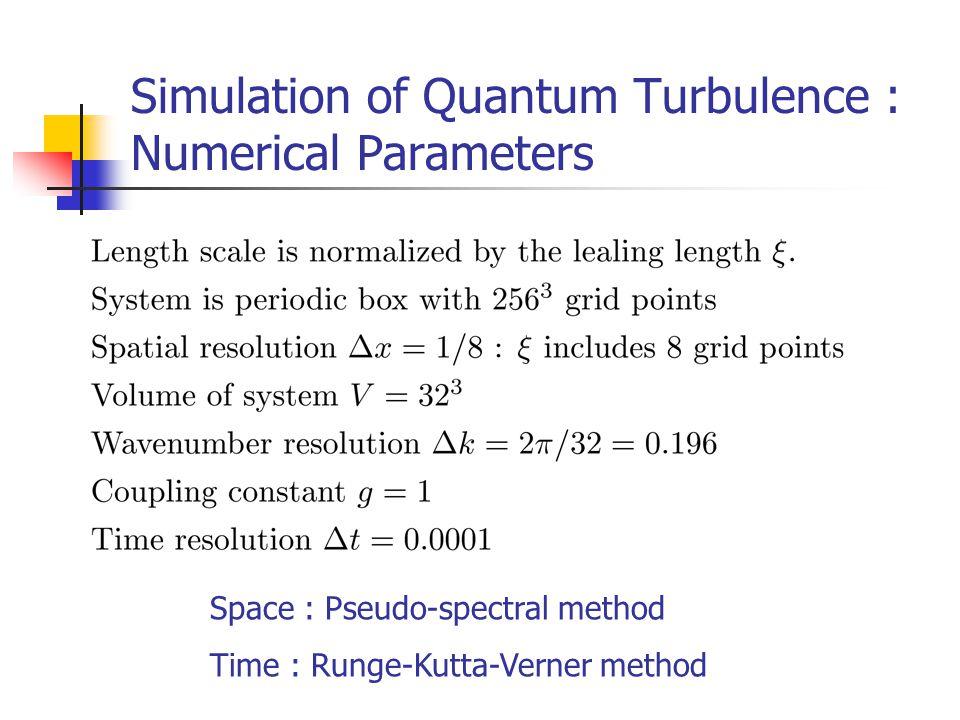 Simulation of Quantum Turbulence : Numerical Parameters Space : Pseudo-spectral method Time : Runge-Kutta-Verner method