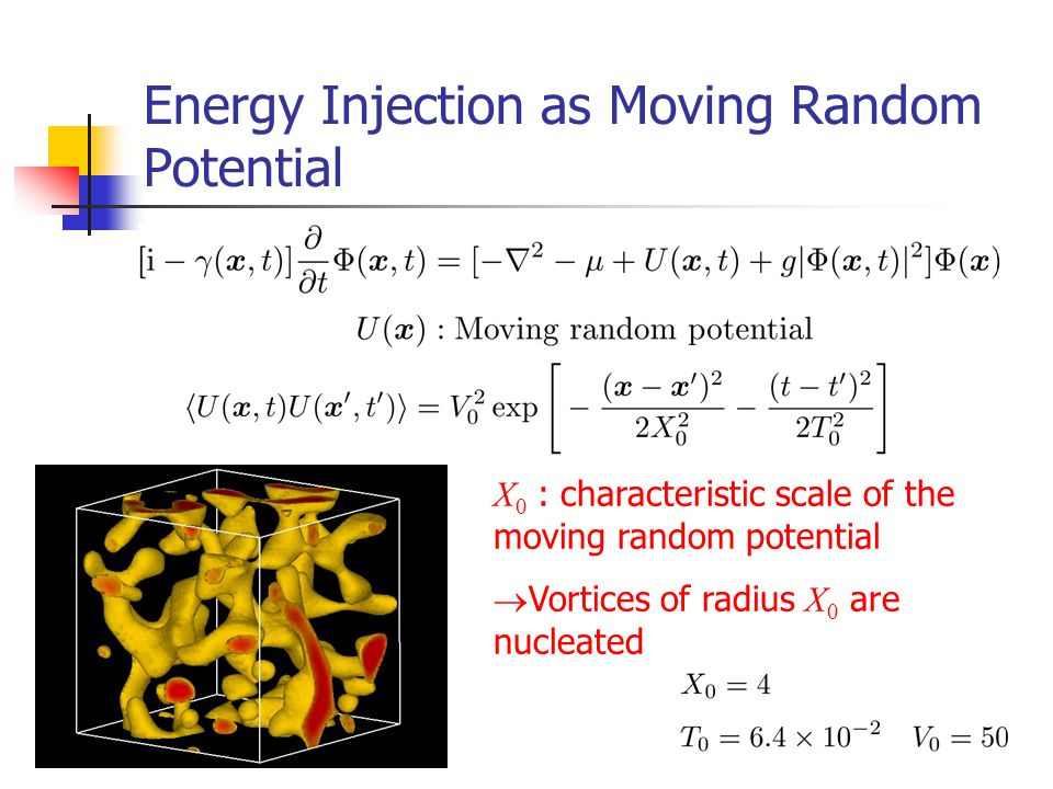 Energy Injection as Moving Random Potential X 0 : characteristic scale of the moving random potential  Vortices of radius X 0 are nucleated