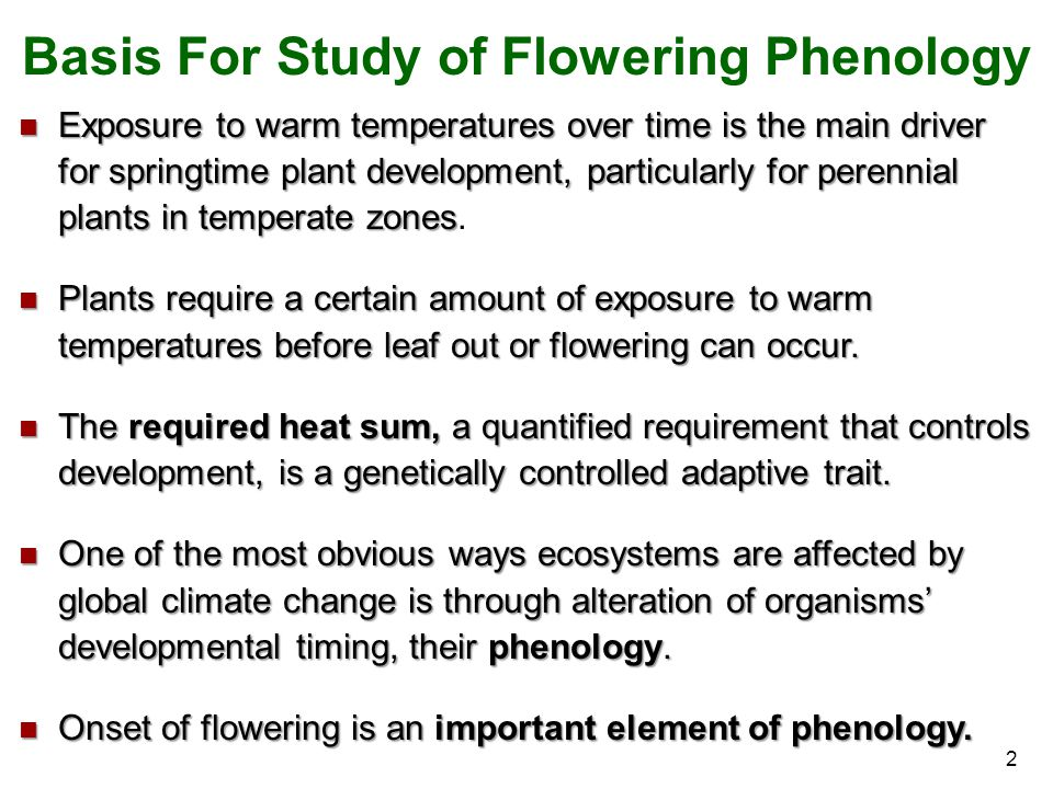 2 Exposure to warm temperatures over time is the main driver for springtime plant development, particularly for perennial plants in temperate zones Ex