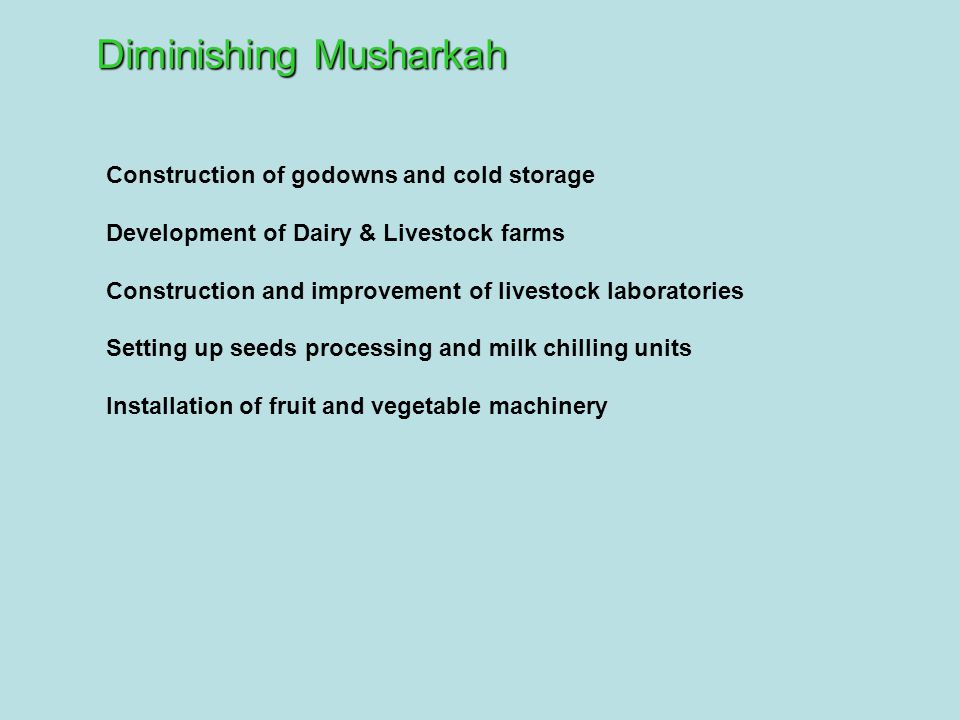 Construction of godowns and cold storage Development of Dairy & Livestock farms Construction and improvement of livestock laboratories Setting up seed