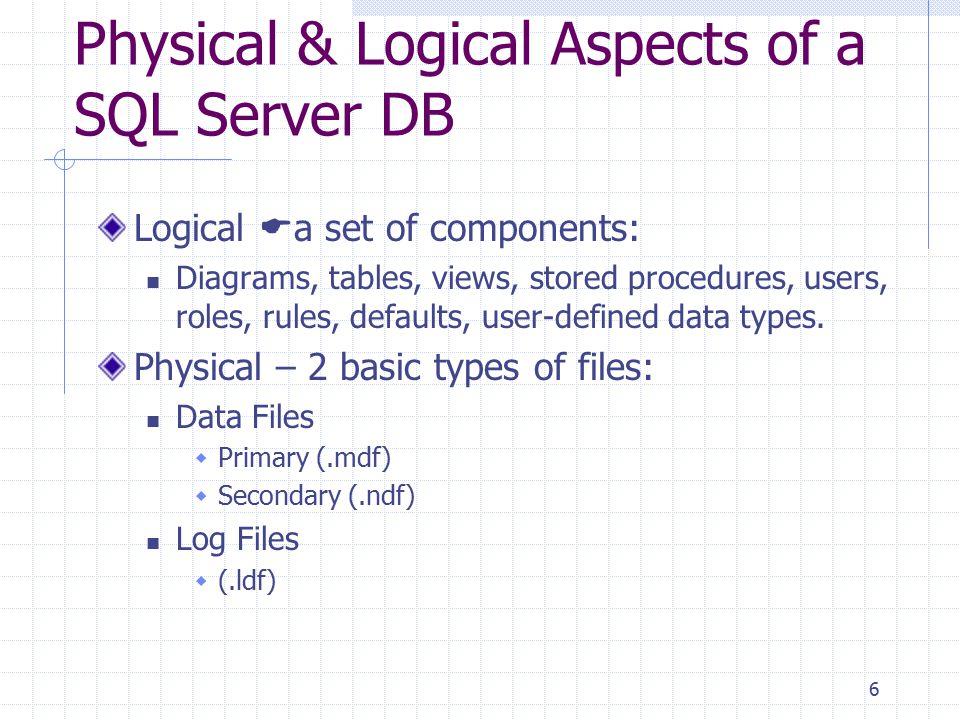 7 System Databases Master Storing all system information, i.e.