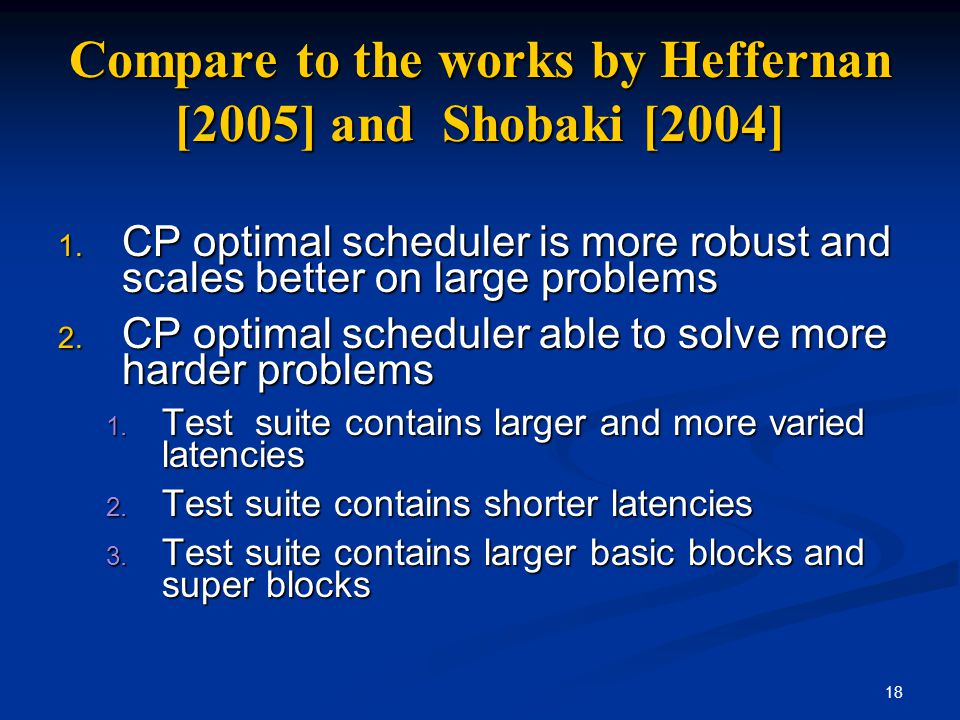 18 Compare to the works by Heffernan [2005] and Shobaki [2004] 1. CP optimal scheduler is more robust and scales better on large problems 2. CP optima