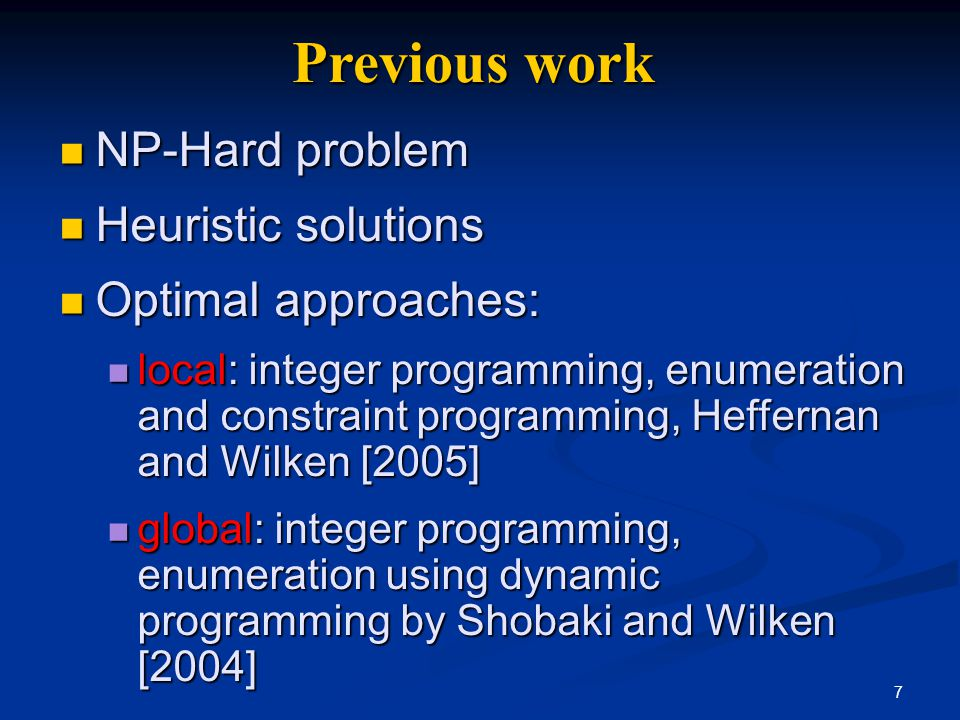 8 List scheduling Most common method in practice Most common method in practice Approximate, greedy algorithm that runs fast in practice Approximate, greedy algorithm that runs fast in practice Data-ready instructions stored in a priority list Data-ready instructions stored in a priority list Priorities assigned according to heuristics Priorities assigned according to heuristics If ready list is not empty, schedule top priority instruction If ready list is not empty, schedule top priority instruction Else schedule a stall Else schedule a stall Advance to next issue slot Advance to next issue slot