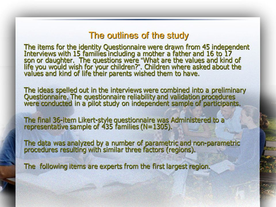 The outlines of the study The items for the identity Questionnaire were drawn from 45 independent Interviews with 15 families including a mother a father and 16 to 17 son or daughter.