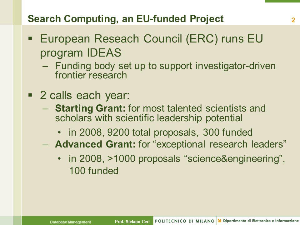 Prof. Stefano Ceri Database Management Search Computing, an EU-funded Project  European Reseach Council (ERC) runs EU program IDEAS –Funding body set